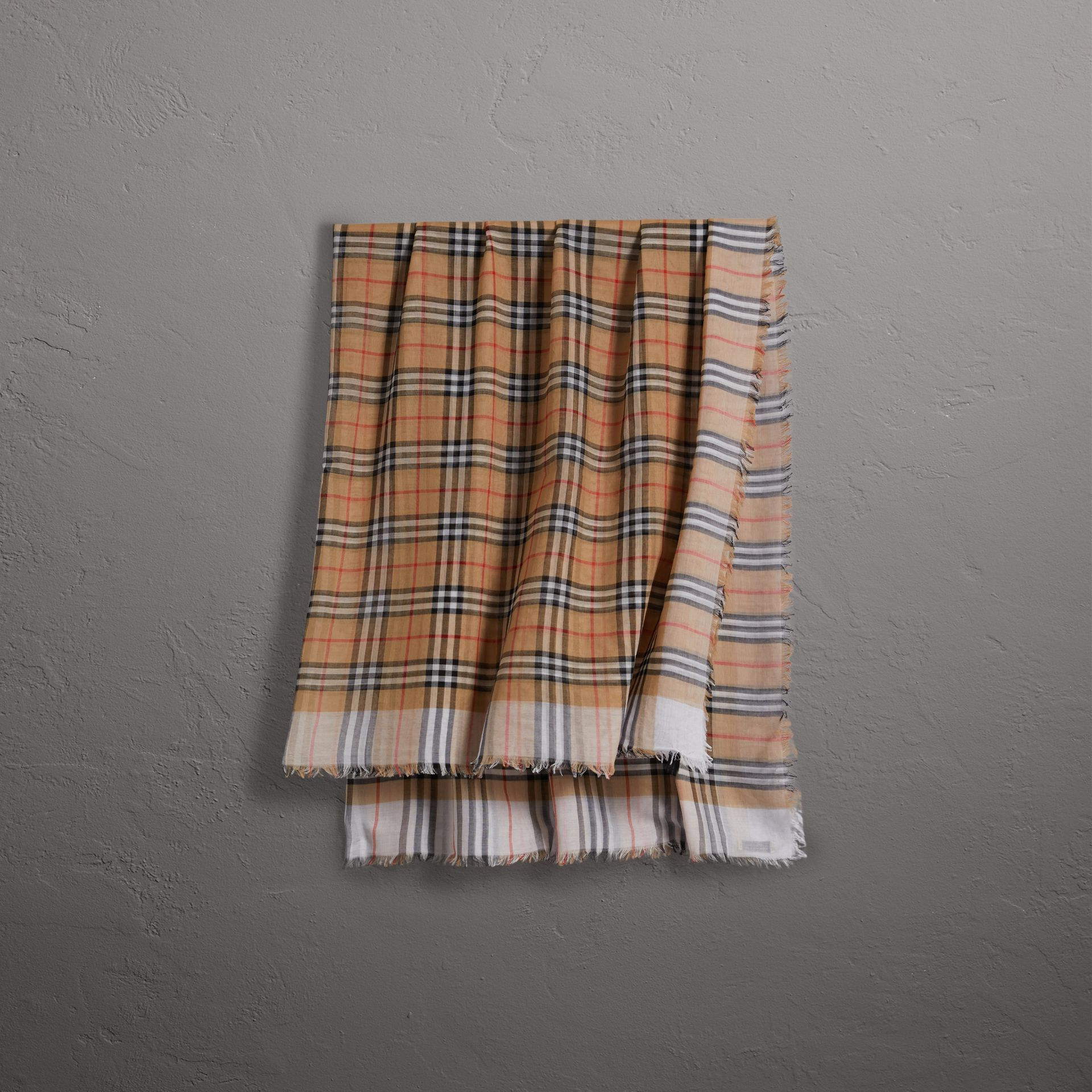 Two-tone Vintage Check Cotton Square Scarf in White | Burberry Australia - gallery image 0