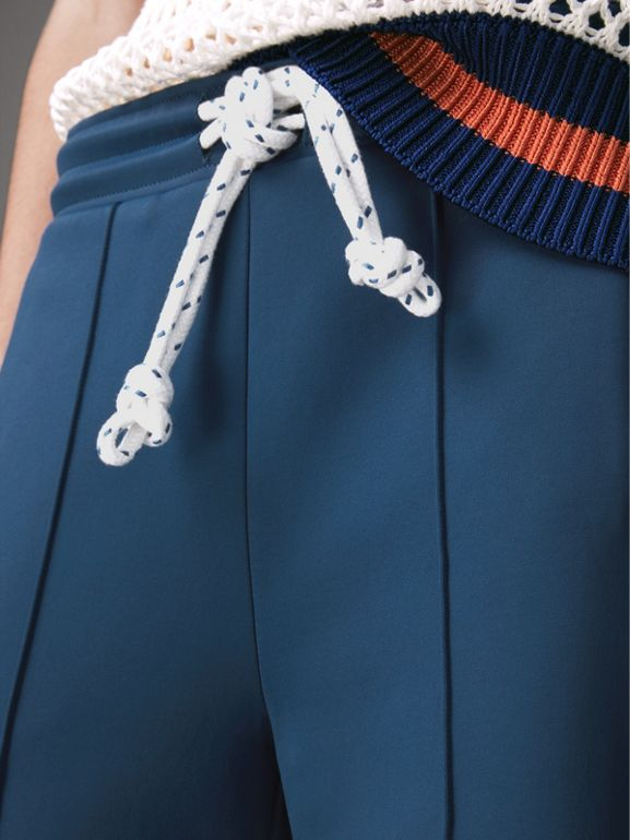 Panelled Wide-leg Drawcord Trousers in Hydrangea Blue - Women | Burberry - cell image 1