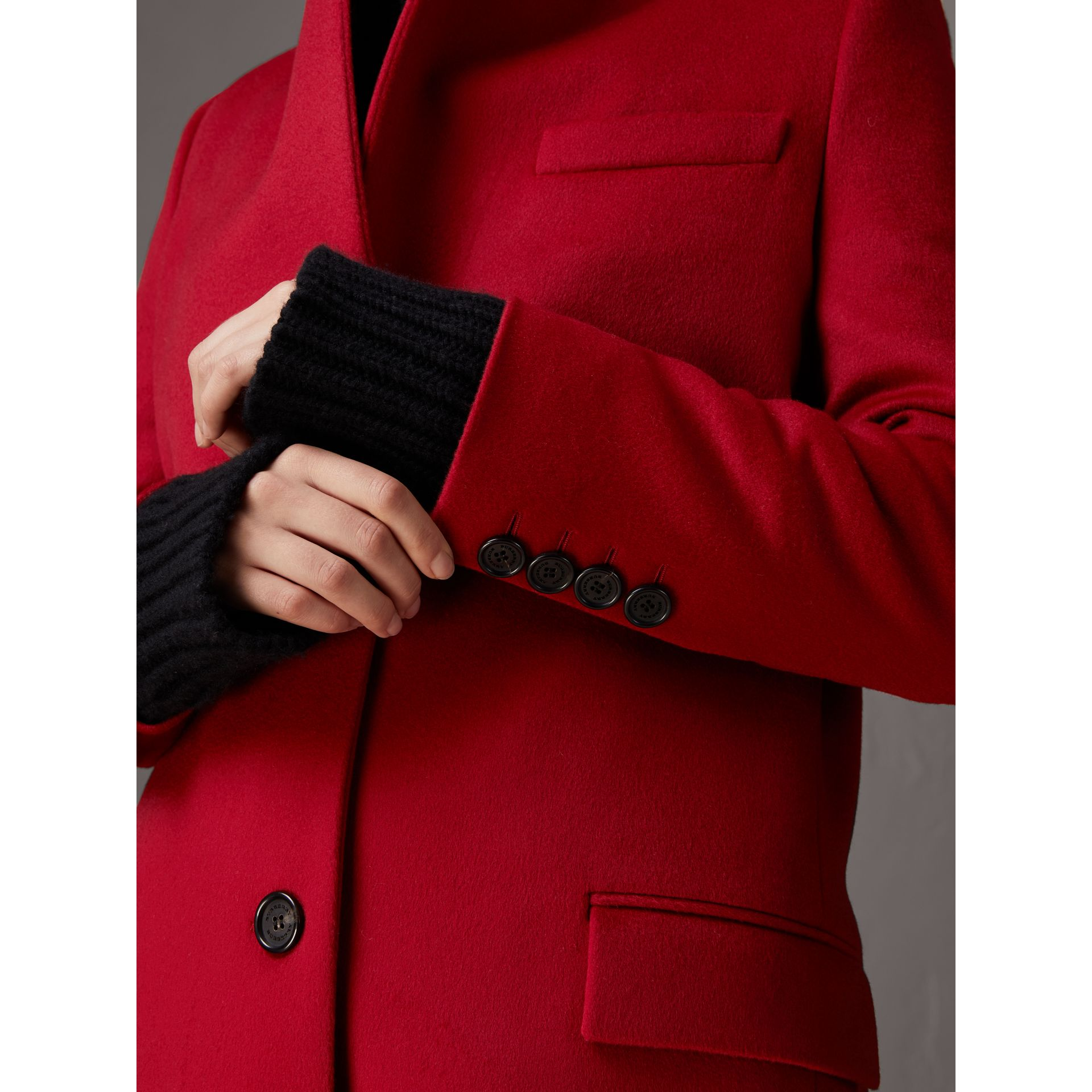 Wool Cashmere Tailored Coat in Parade Red - Women | Burberry - gallery image 5