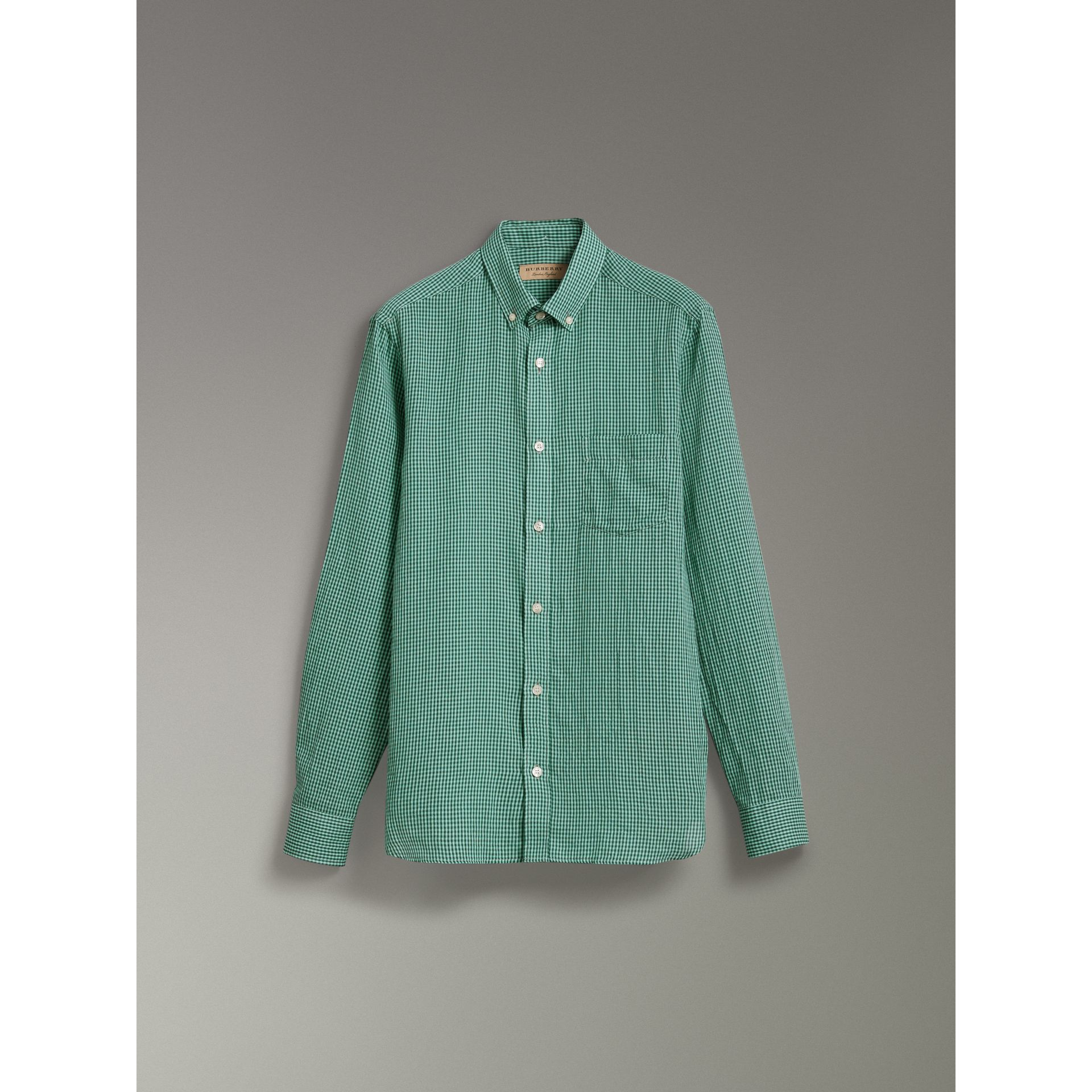 Button-down Collar Gingham Cotton Shirt in Aqua Green - Men | Burberry - gallery image 3