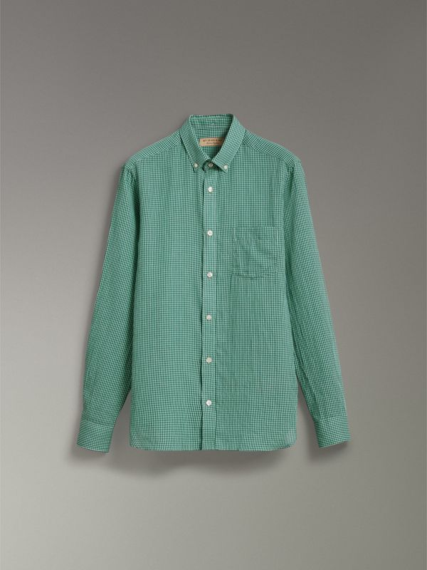 Button-down Collar Gingham Cotton Shirt in Aqua Green - Men | Burberry - cell image 3