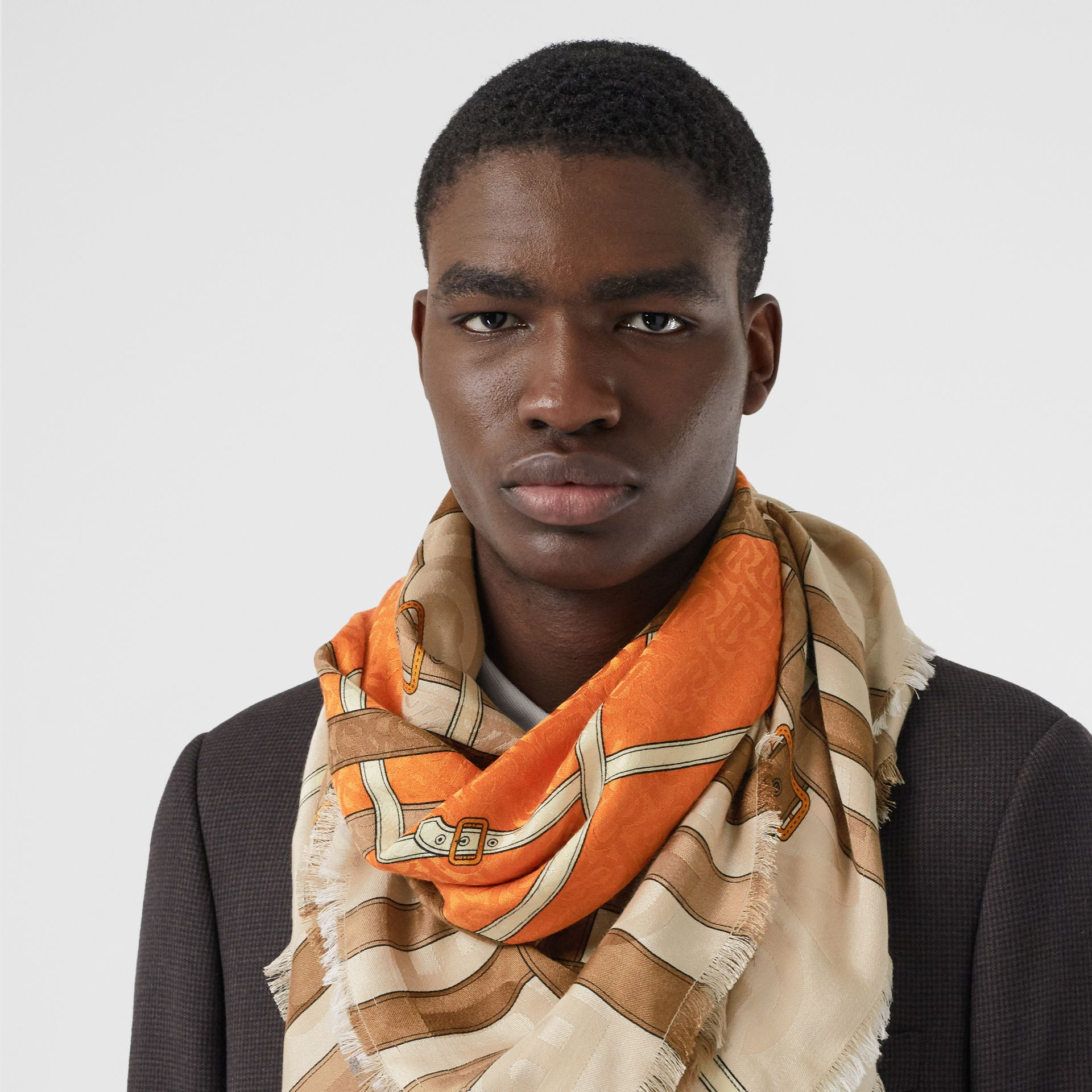 Archive Scarf Print Silk Wool Large Square Scarf in Bright Orange | Burberry - gallery image 3