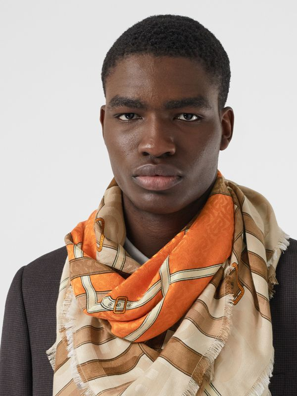 Archive Scarf Print Silk Wool Large Square Scarf in Bright Orange | Burberry - cell image 3