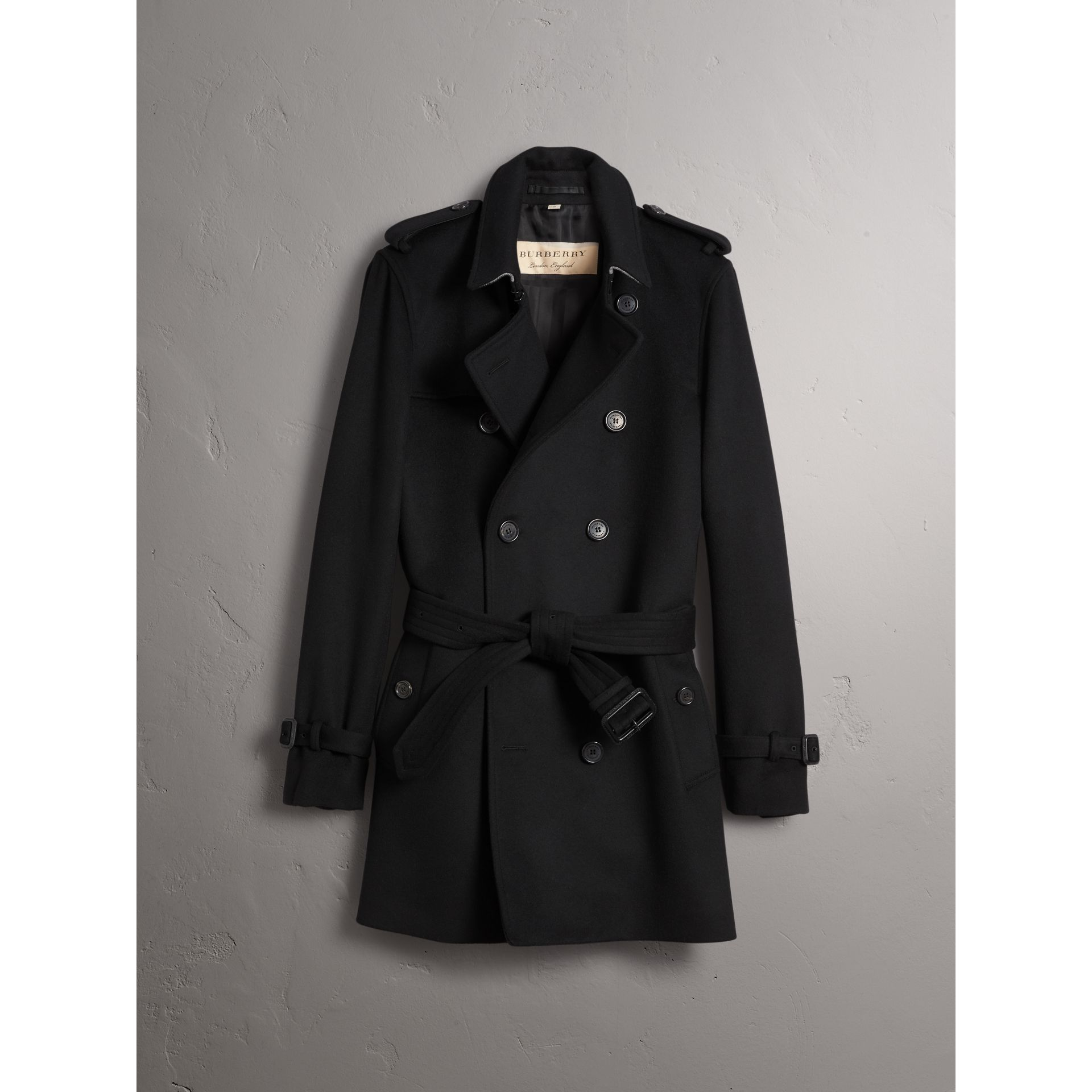 Trench-coat en laine et cachemire (Noir) - Homme | Burberry - photo de la galerie 4