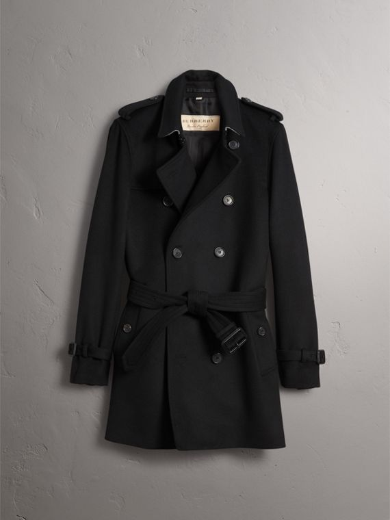 Wool Cashmere Trench Coat in Black - Men | Burberry Australia - cell image 3