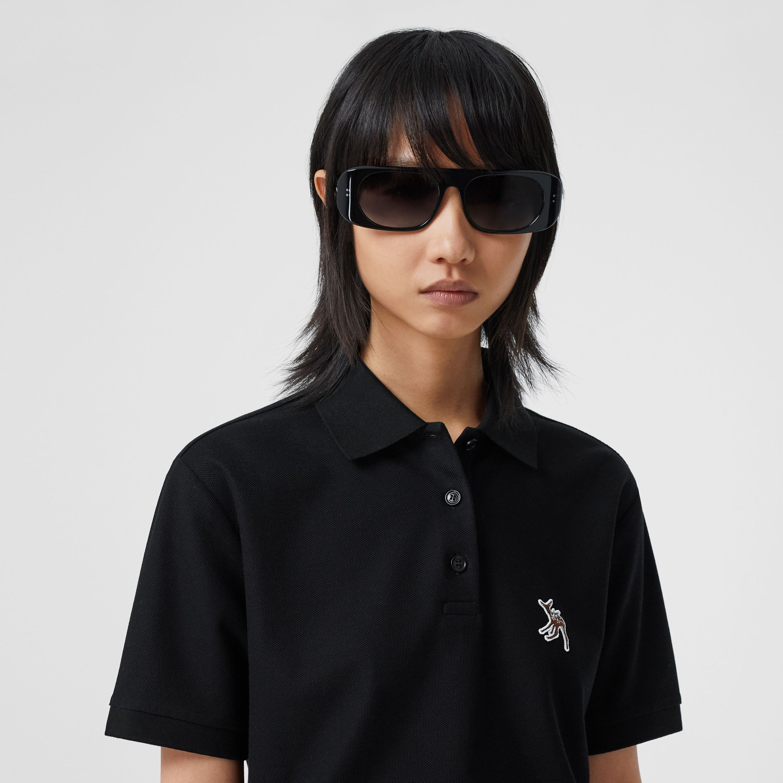 Deer Motif Cotton Piqué Oversized Polo Shirt in Black - Women | Burberry - 2