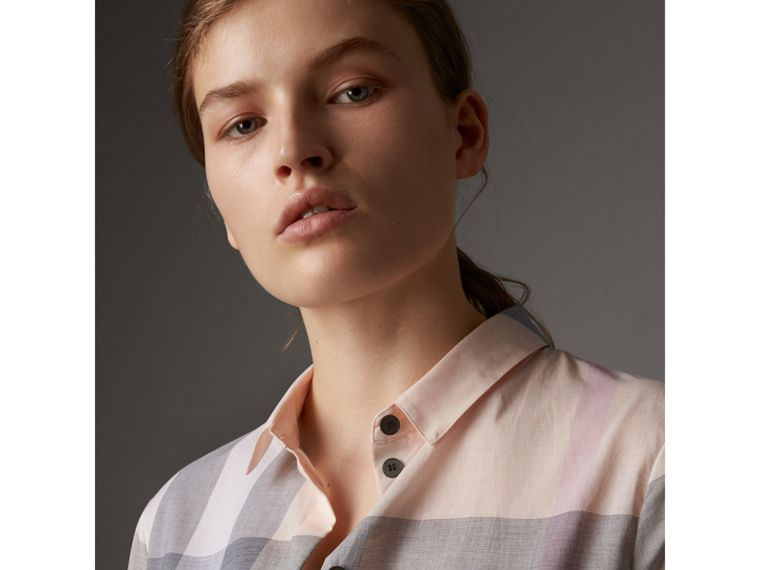 Check Cotton Shirt in Apricot - Women | Burberry - cell image 1