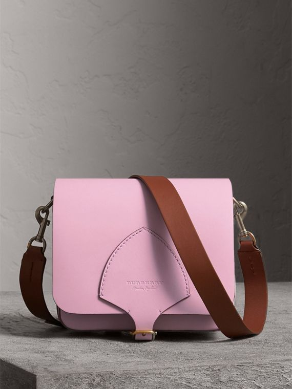 The Square Satchel aus Leder (Helles Lavendelfarben)