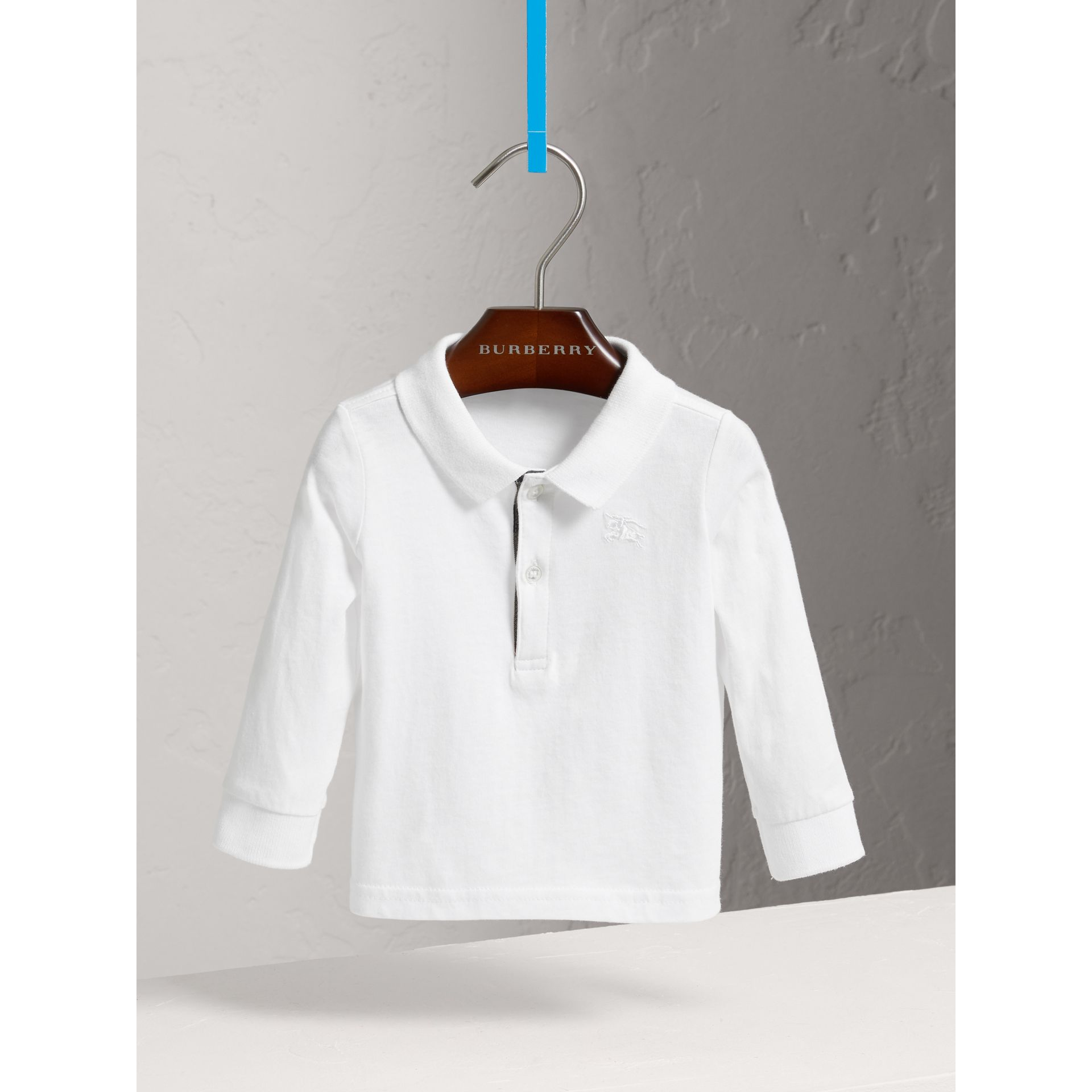 Check Trim Long-sleeved Cotton Polo Shirt in White | Burberry - gallery image 2