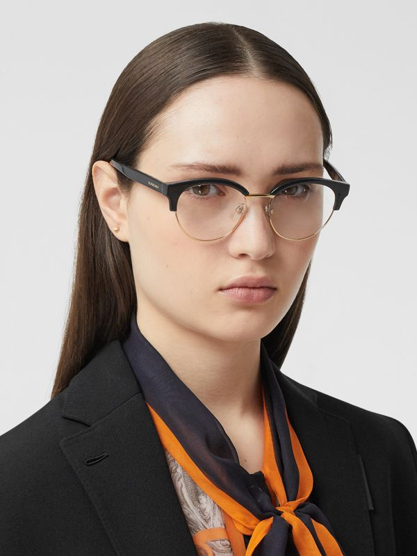 Cat-eye Optical Frames in Black/beige - Women | Burberry - cell image 2