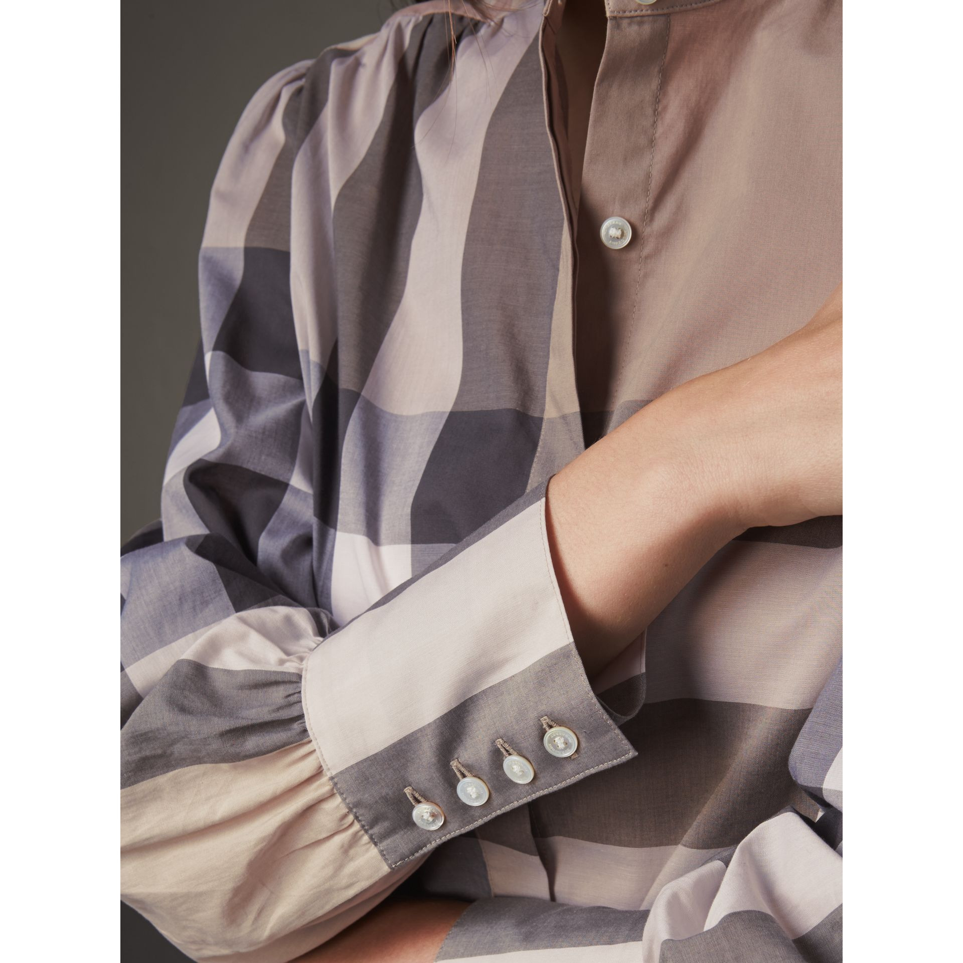 Grandad Collar Check Cotton Tunic Shirt in Pale Stone - Women | Burberry - gallery image 2
