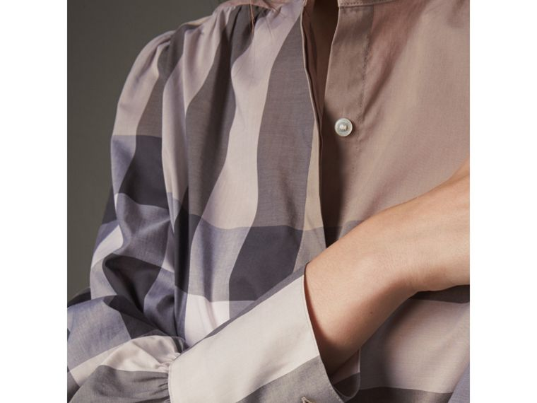 Grandad Collar Check Cotton Tunic Shirt in Pale Stone - Women | Burberry - cell image 1