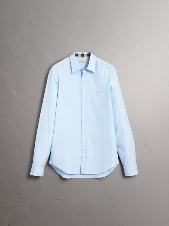 Check Detail Stretch Cotton Poplin Shirt in Pale Blue