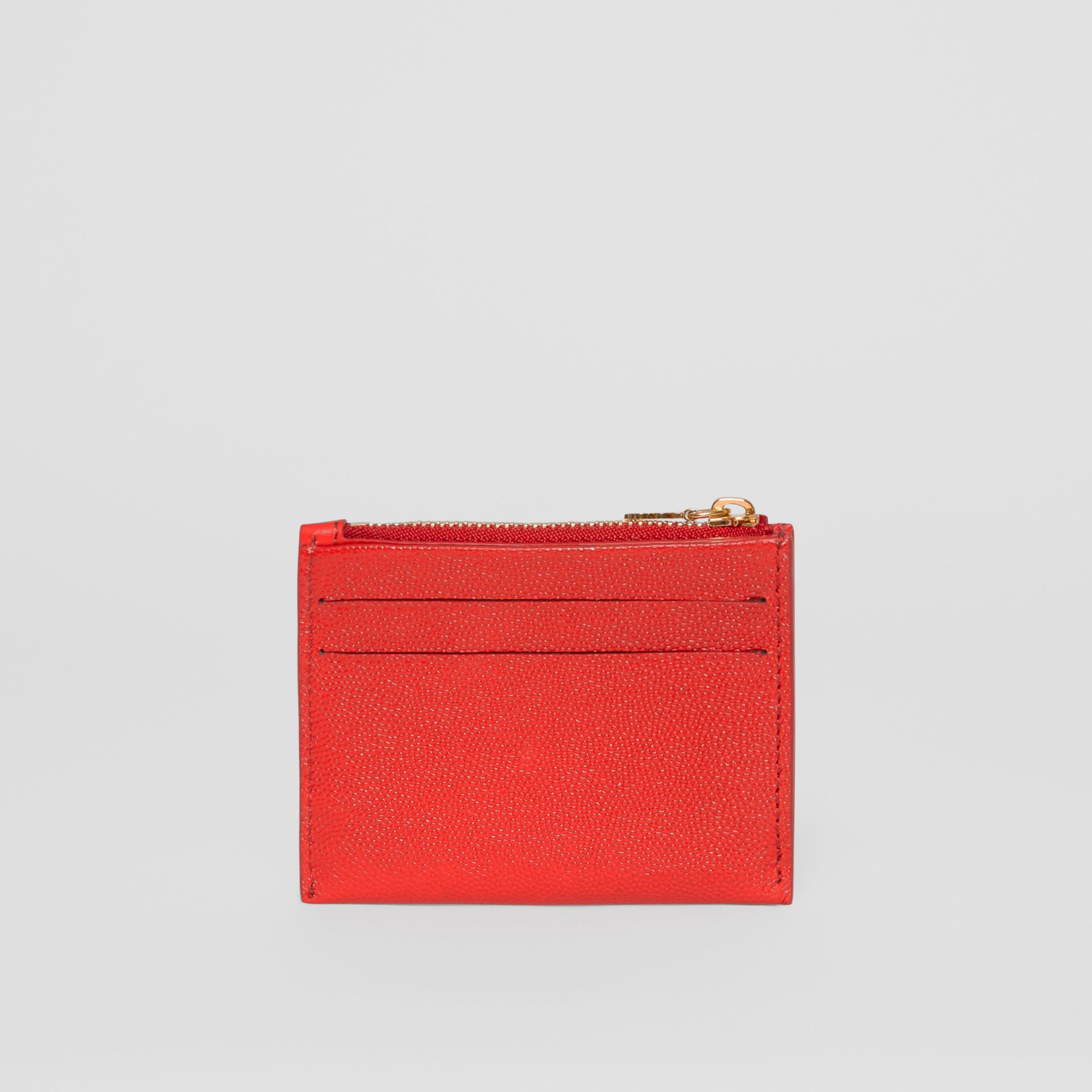 Monogram Motif Grainy Leather Zip Card Case in Bright Red - Women | Burberry Australia - gallery image 4