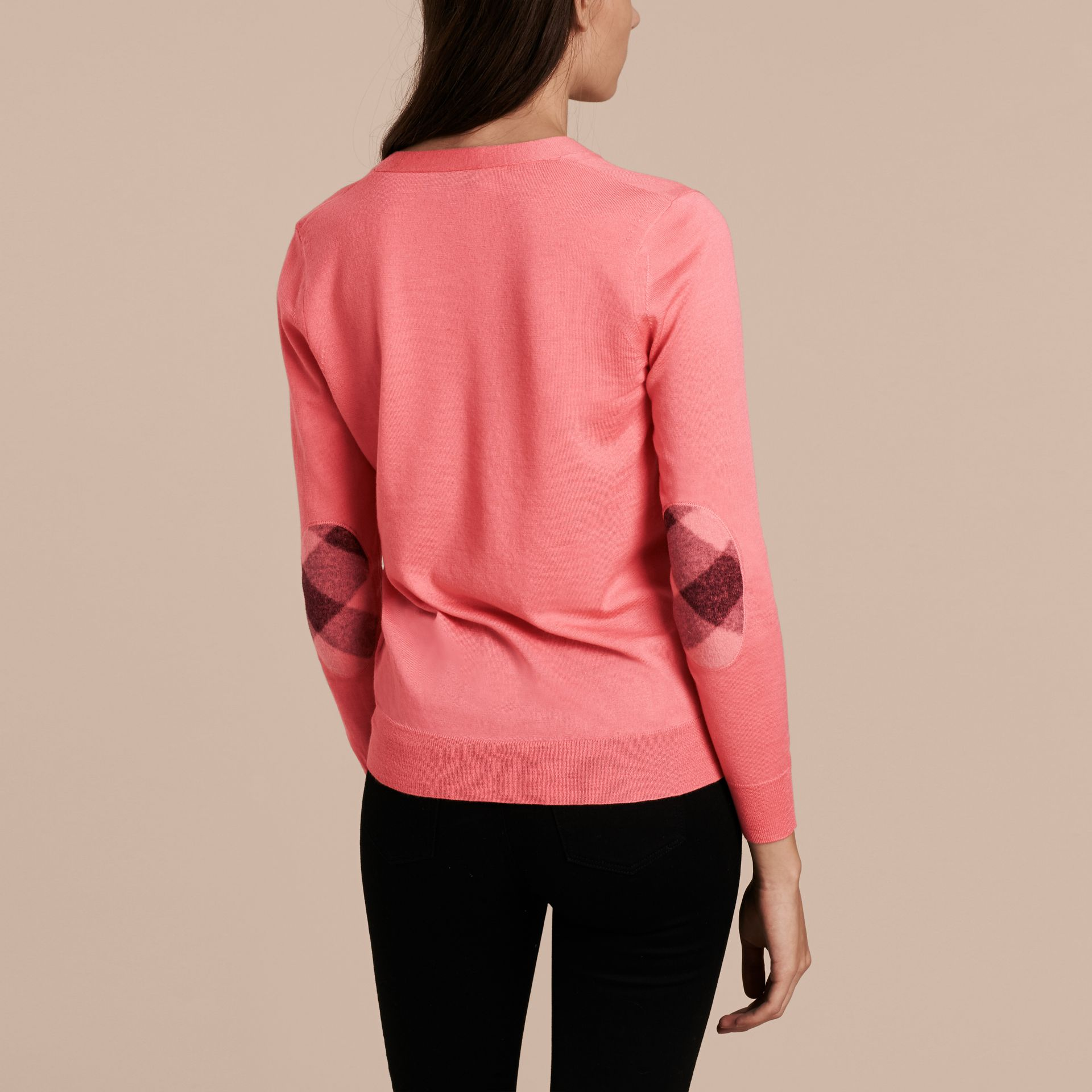 Check Detail Merino Wool Cardigan Pale Rose Pink - gallery image 3