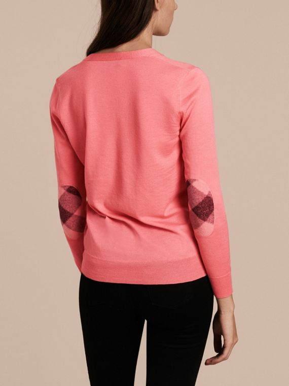 Check Detail Merino Wool Cardigan Pale Rose Pink - cell image 2