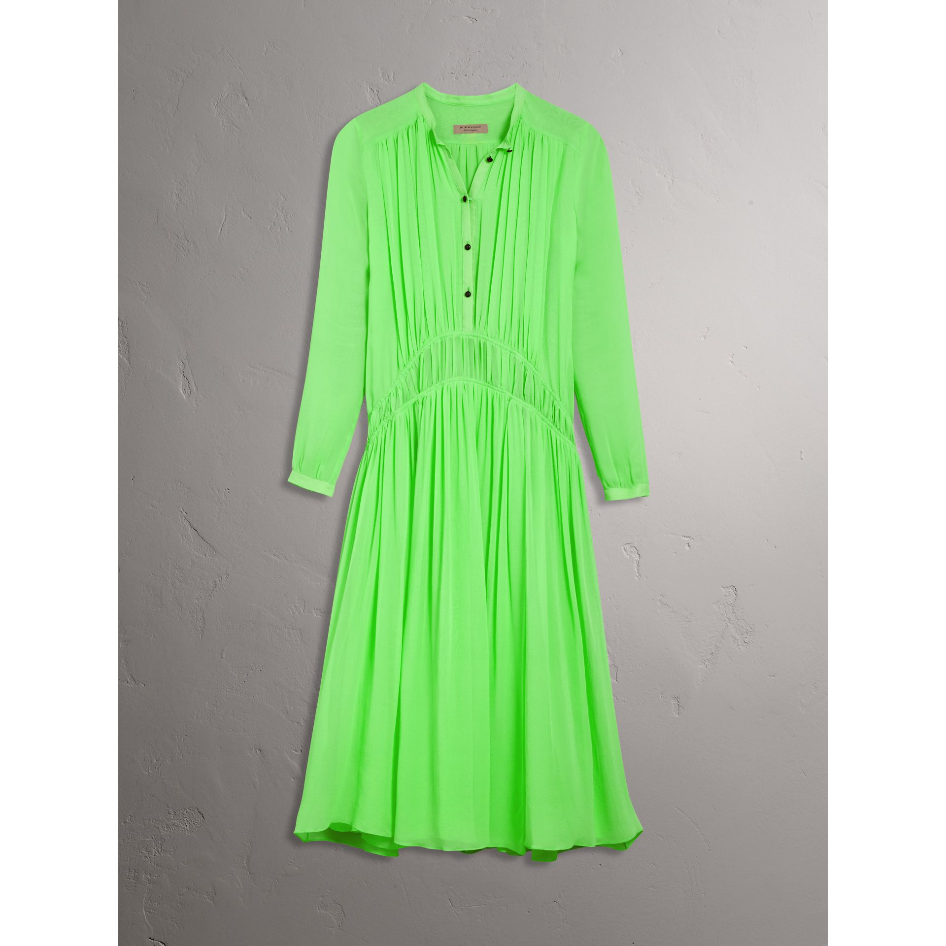 Gathered Silk Georgette Dress in Neon Green - Women | Burberry United Kingdom - gallery image 3