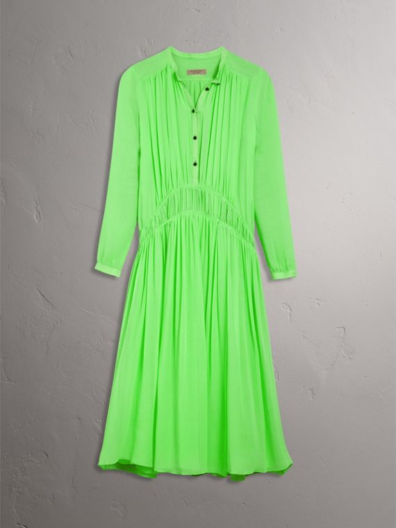 Gathered Silk Georgette Dress in Neon Green - Women | Burberry Hong Kong - cell image 3