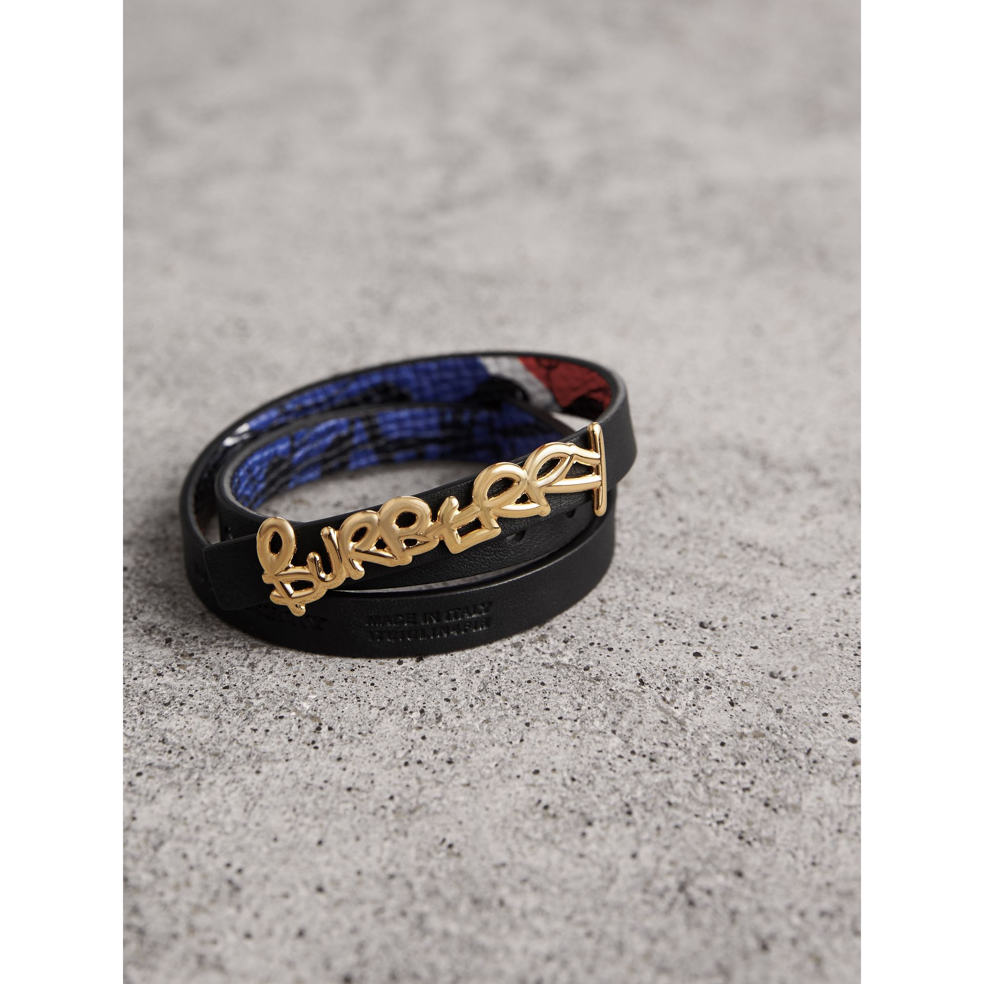 Doodle Detail Reversible Leather  Bracelet in Red/blue - Women | Burberry United Kingdom - gallery image 3