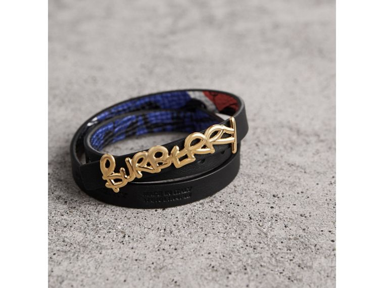 Doodle Detail Reversible Leather  Bracelet in Red/blue - Women | Burberry United Kingdom - cell image 2
