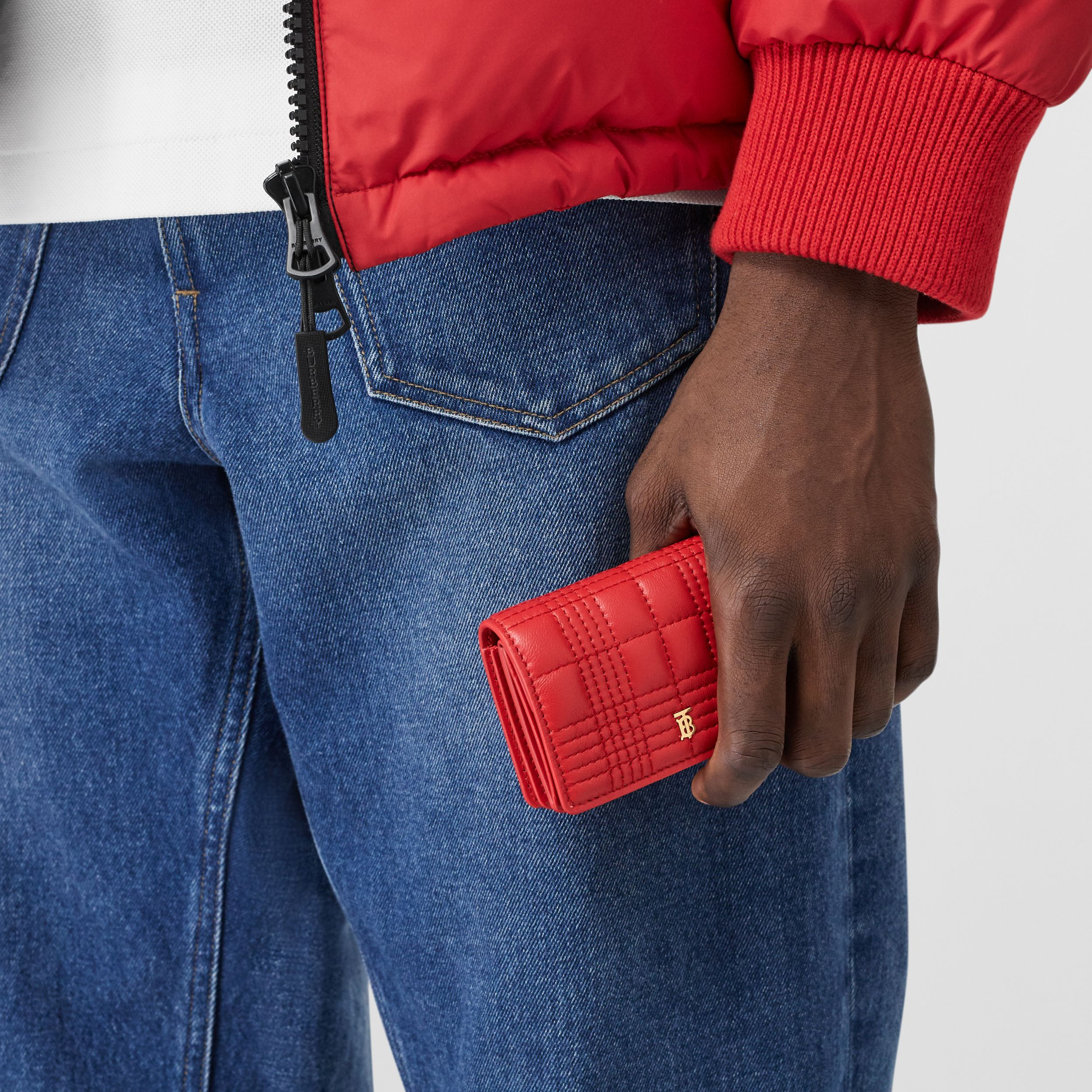 Quilted Lambskin Card Case with Detachable Strap in Bright Red | Burberry - 4