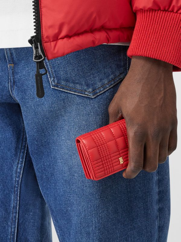 Quilted Lambskin Card Case with Detachable Strap in Bright Red | Burberry United Kingdom - cell image 2