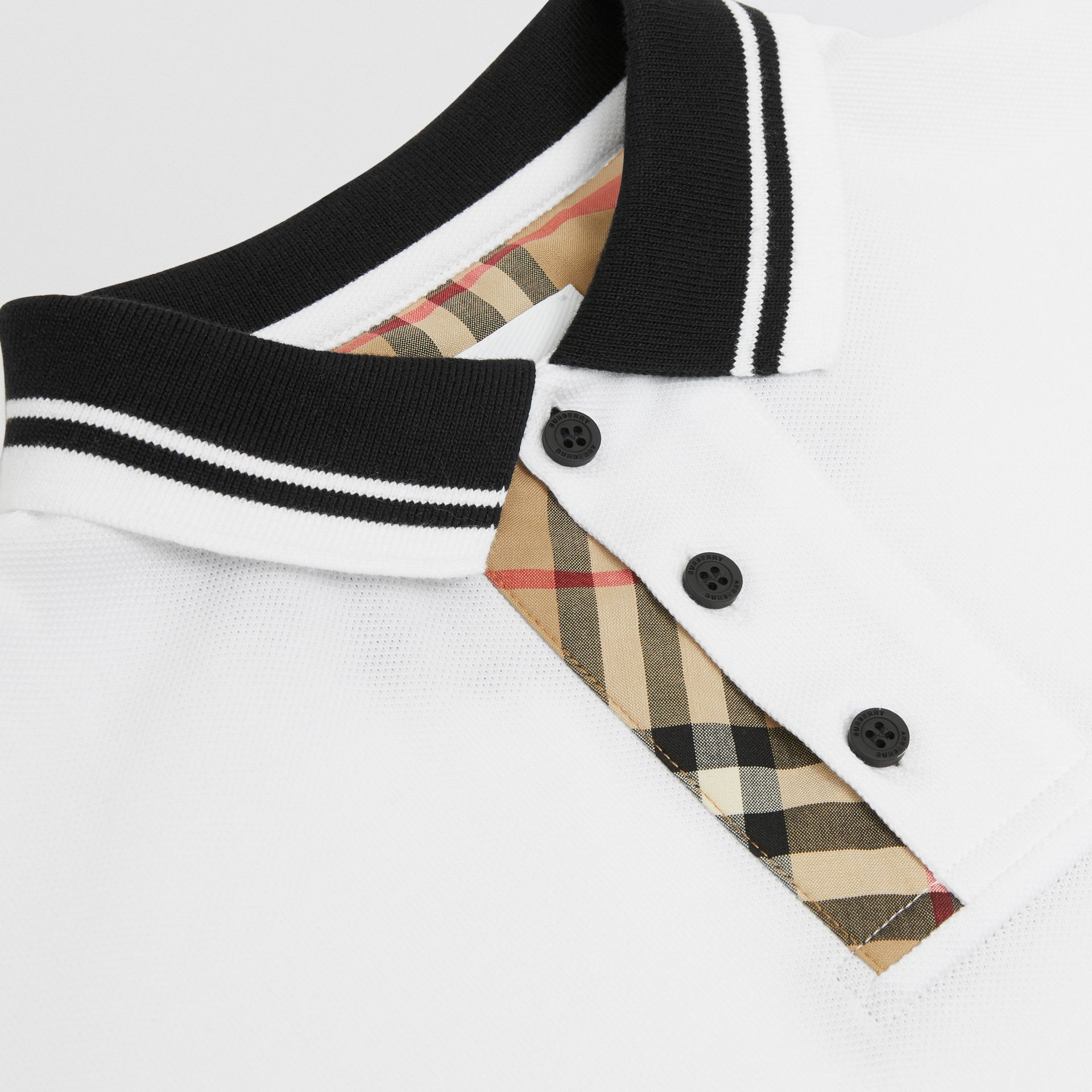 Vintage Check Trim Cotton Polo Shirt in White | Burberry United Kingdom - gallery image 1