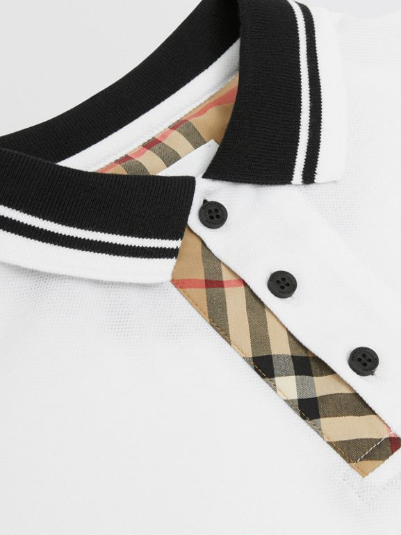 Vintage Check Trim Cotton Polo Shirt in White | Burberry - cell image 1