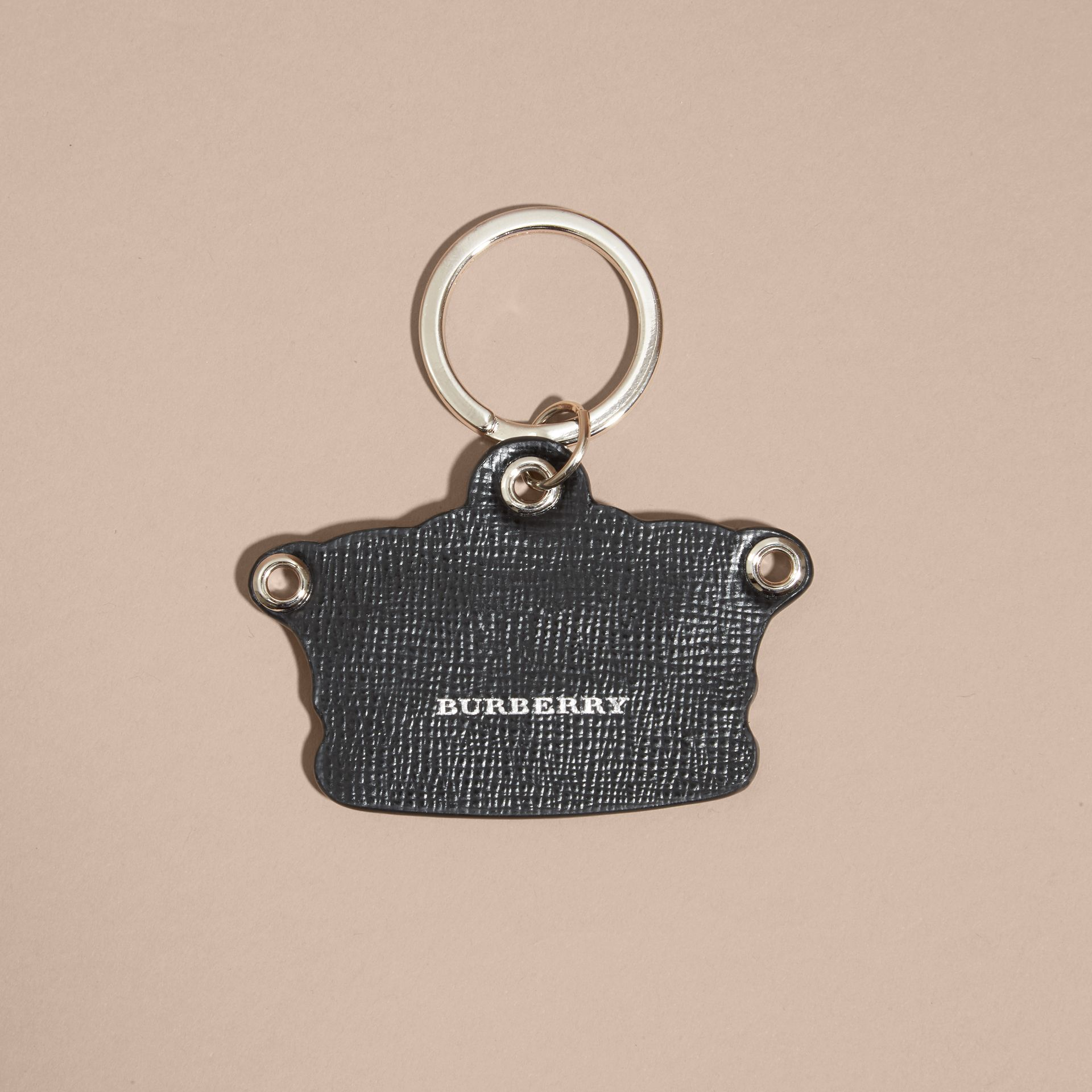 Storm green Snakeskin and Leather Crown Key Ring - gallery image 4