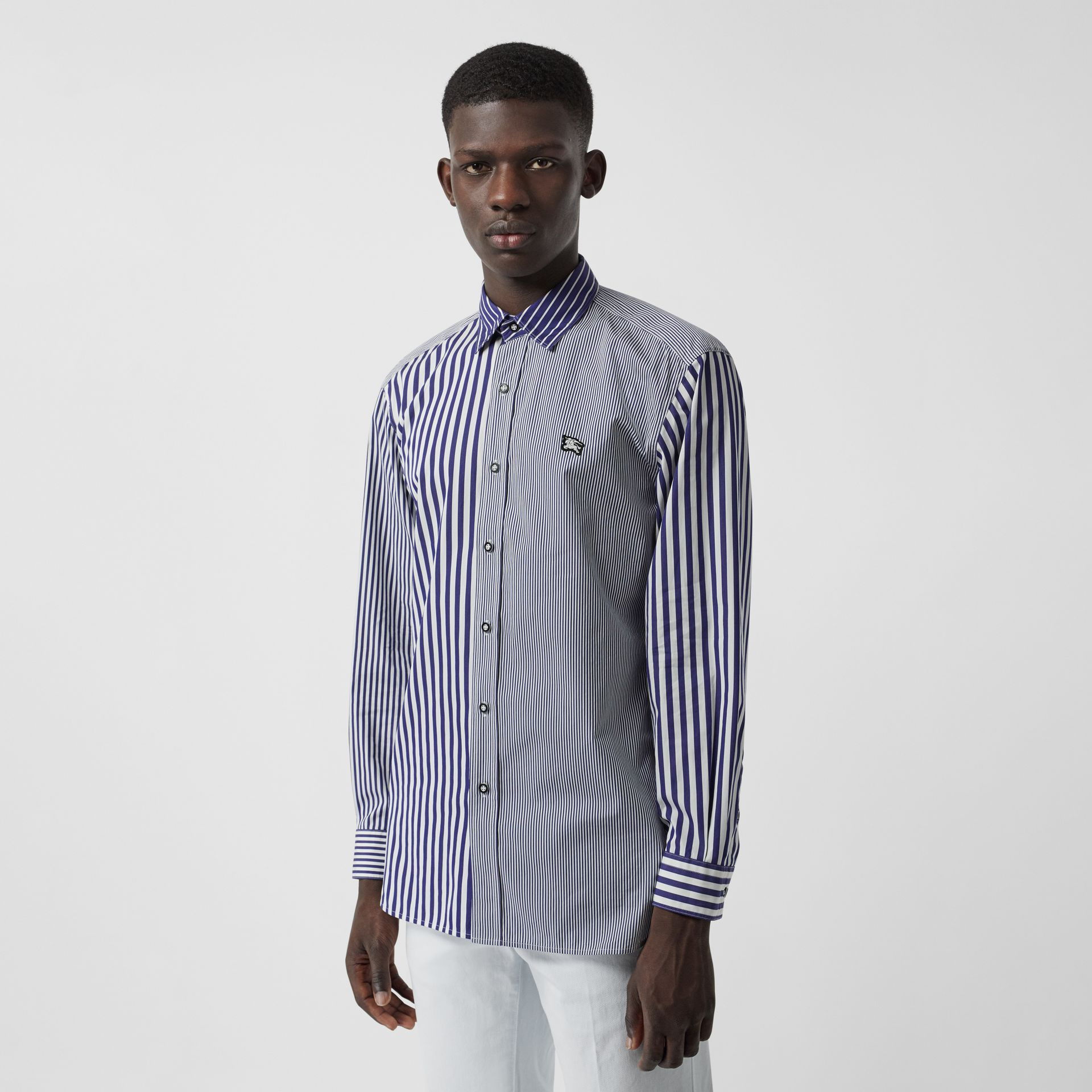Contrast Stripe Cotton Poplin Shirt in Navy - Men | Burberry - gallery image 0