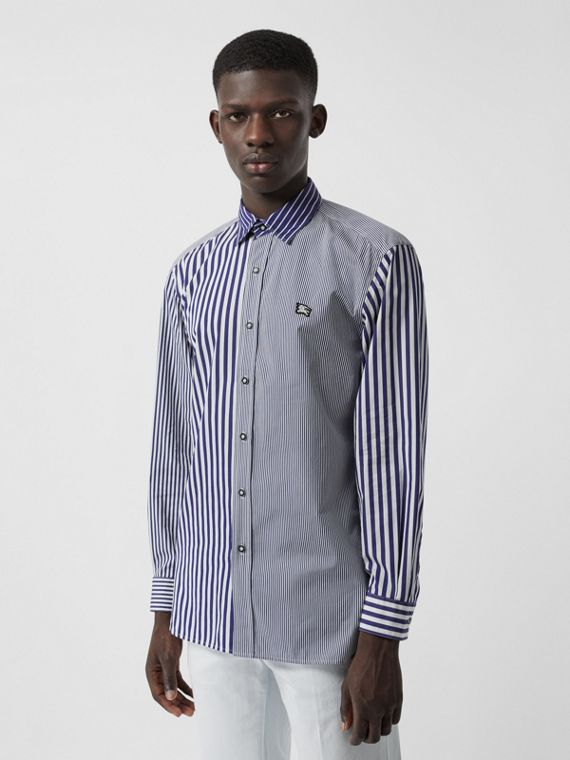 Contrast Stripe Cotton Poplin Shirt in Navy