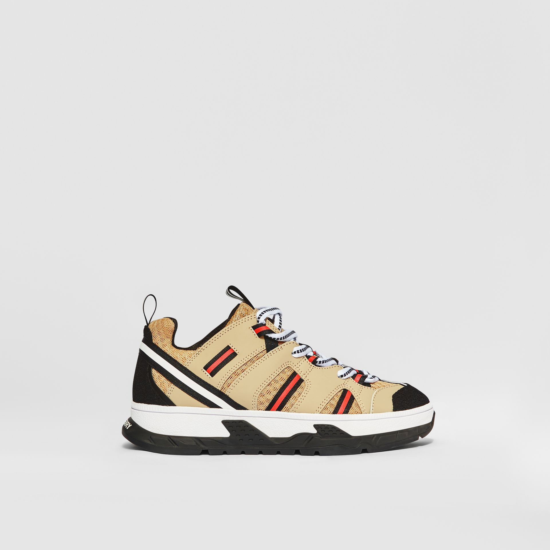 Nubuck and Mesh Union Sneakers in Archive Beige - Children | Burberry Singapore - gallery image 3