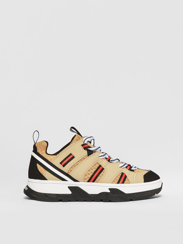 Nubuck and Mesh Union Sneakers in Archive Beige - Children | Burberry - cell image 3