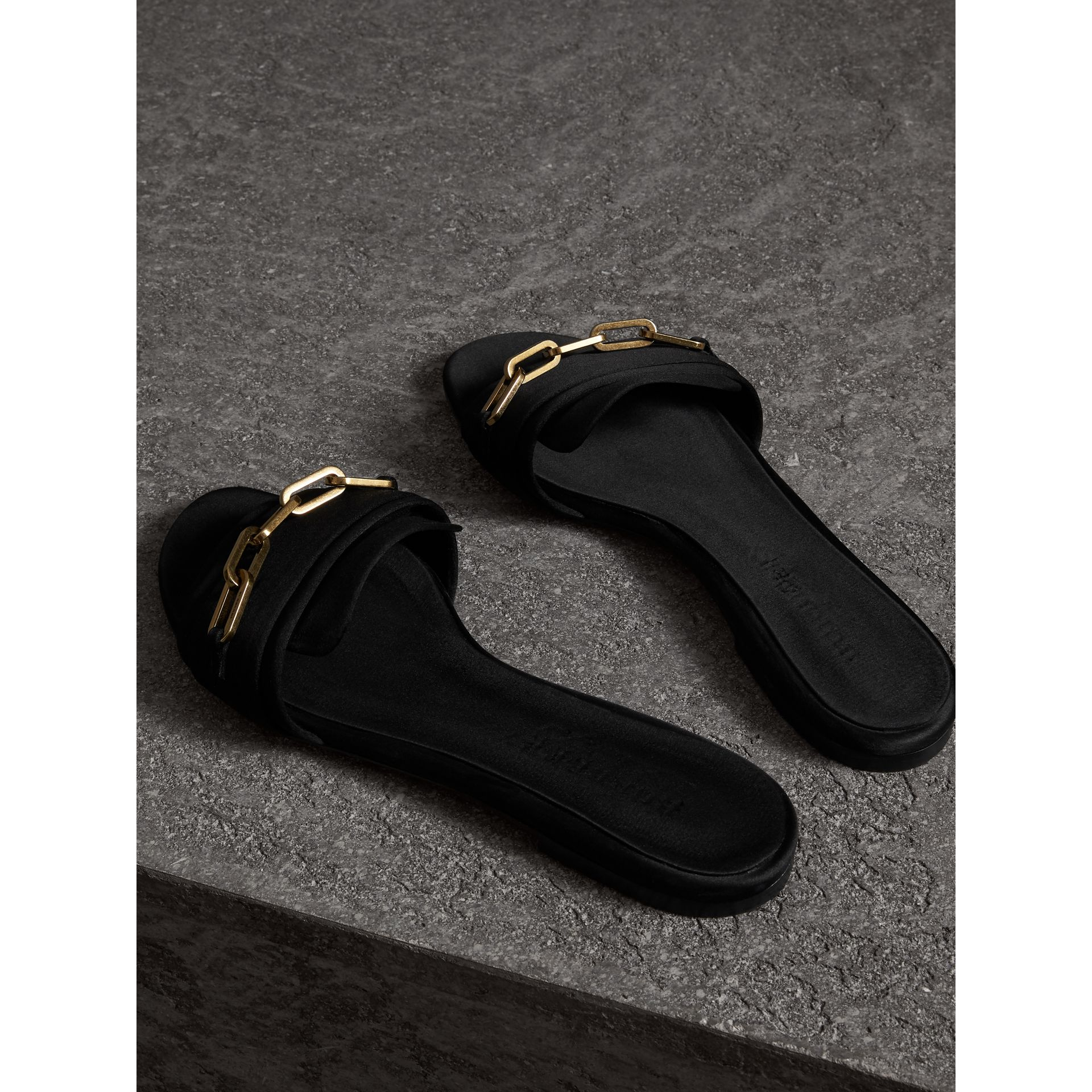 Link Detail Satin and Leather Slides in Black - Women | Burberry Singapore - gallery image 3