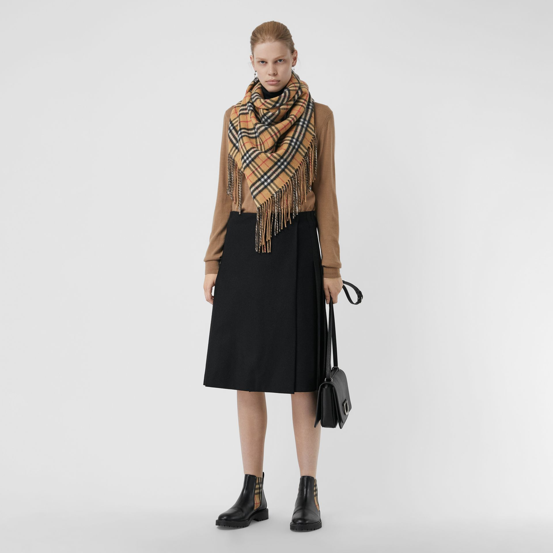 The Burberry Bandana in Vintage Check Cashmere in Sandstone | Burberry Australia - gallery image 2