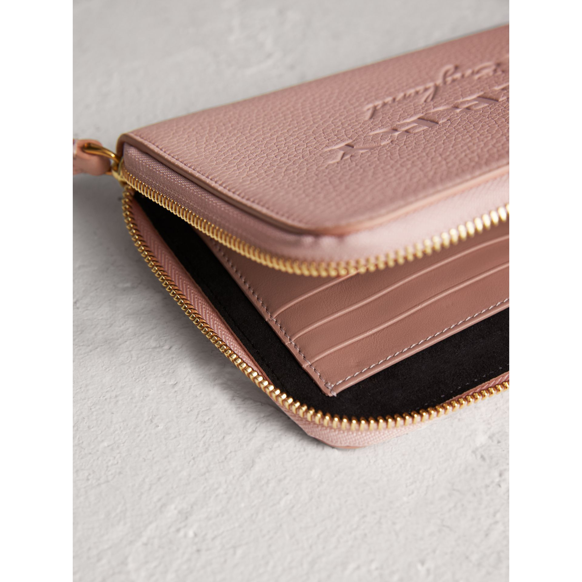 Embossed Leather Travel Wallet in Pale Ash Rose | Burberry United Kingdom - gallery image 3
