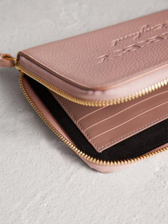 Embossed Leather Travel Wallet in Pale Ash Rose | Burberry - cell image 3