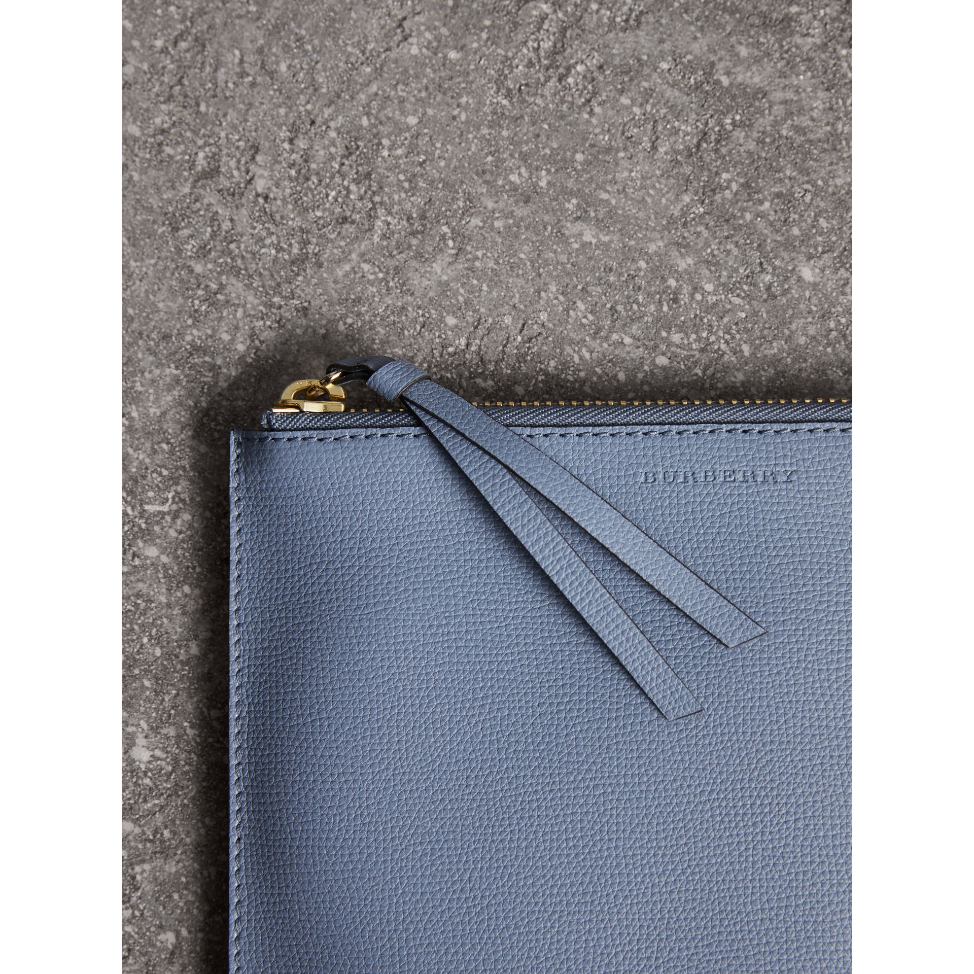 Haymarket Check and Leather Pouch in Slate Blue - Women | Burberry United Kingdom - gallery image 2