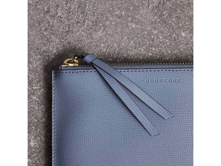 Haymarket Check and Leather Pouch in Slate Blue - Women | Burberry United Kingdom - cell image 1