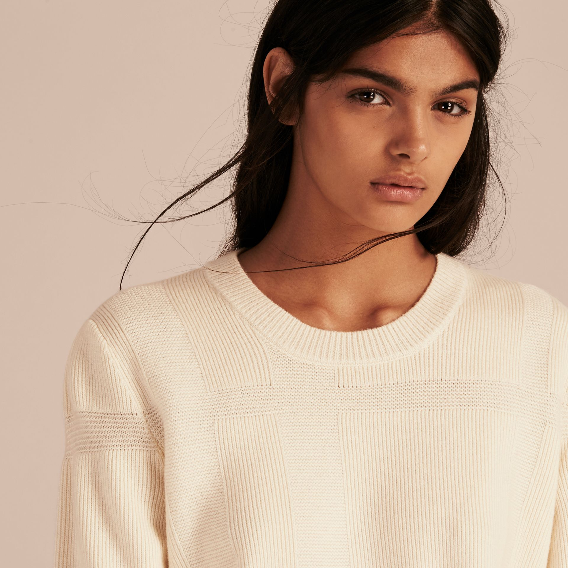 Natural white Check-knit Wool Cashmere Sweater Natural White - gallery image 5