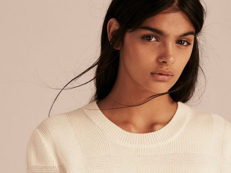 Check-knit Wool Cashmere Sweater Natural White - cell image 4