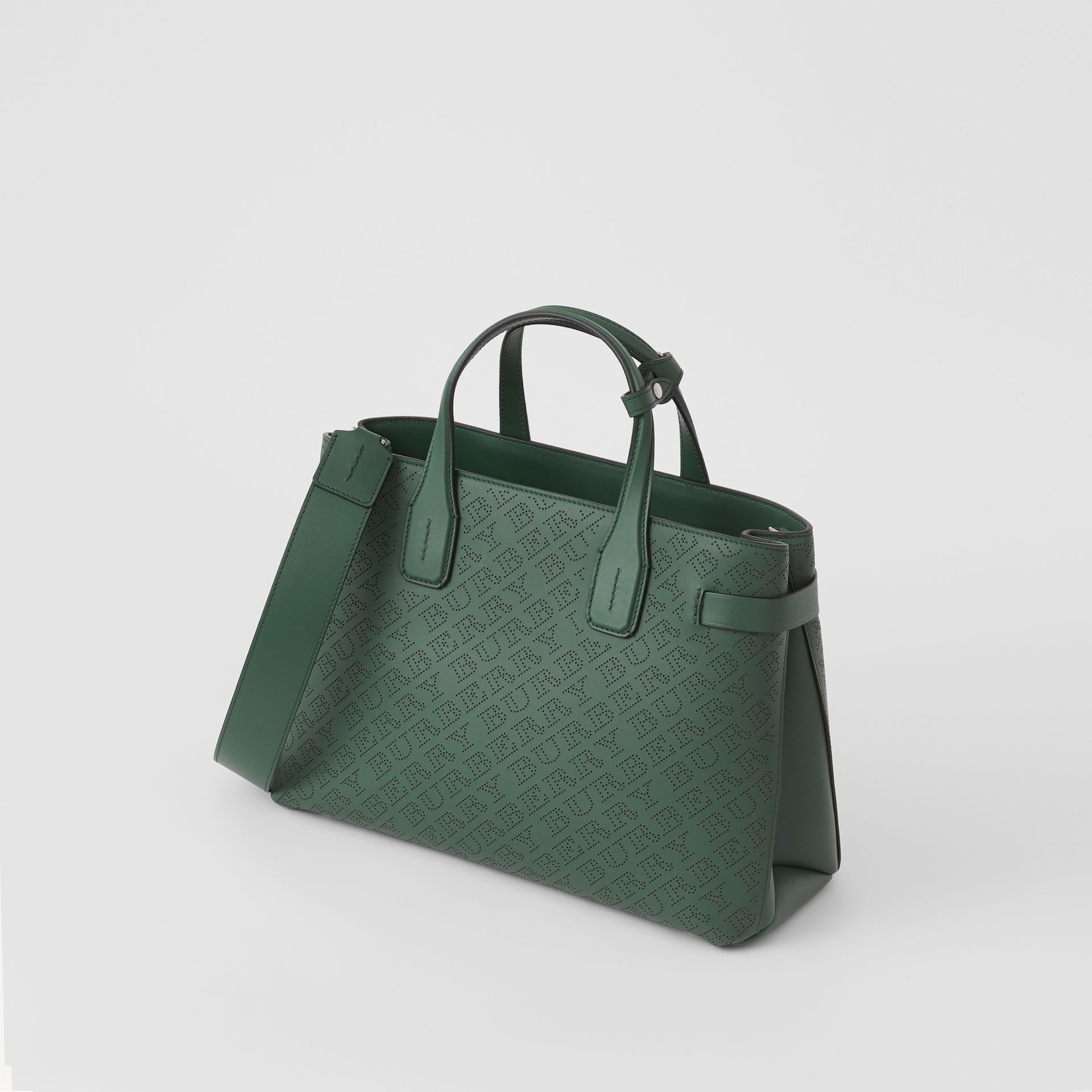 The Medium Banner in Perforated Logo Leather in Vintage Green - Women | Burberry United Kingdom - gallery image 4