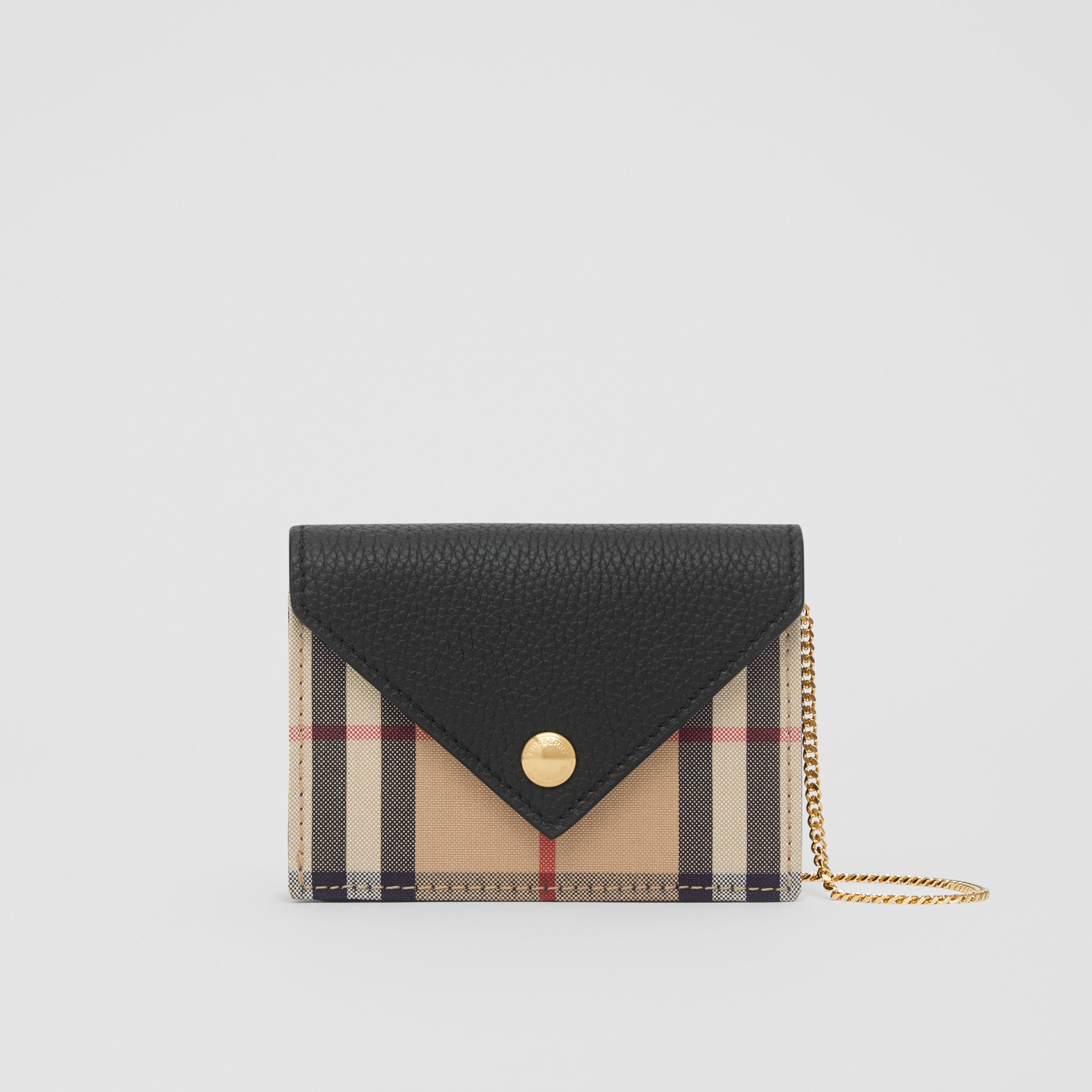 Vintage Check and Leather Card Case with Strap in Black - Women | Burberry - 1