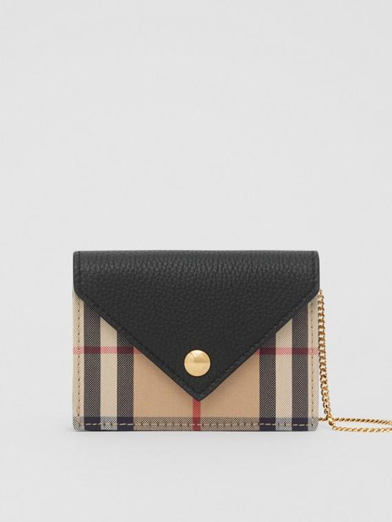 Porta carte di credito in pelle con motivo Vintage check e tracolla (Nero)