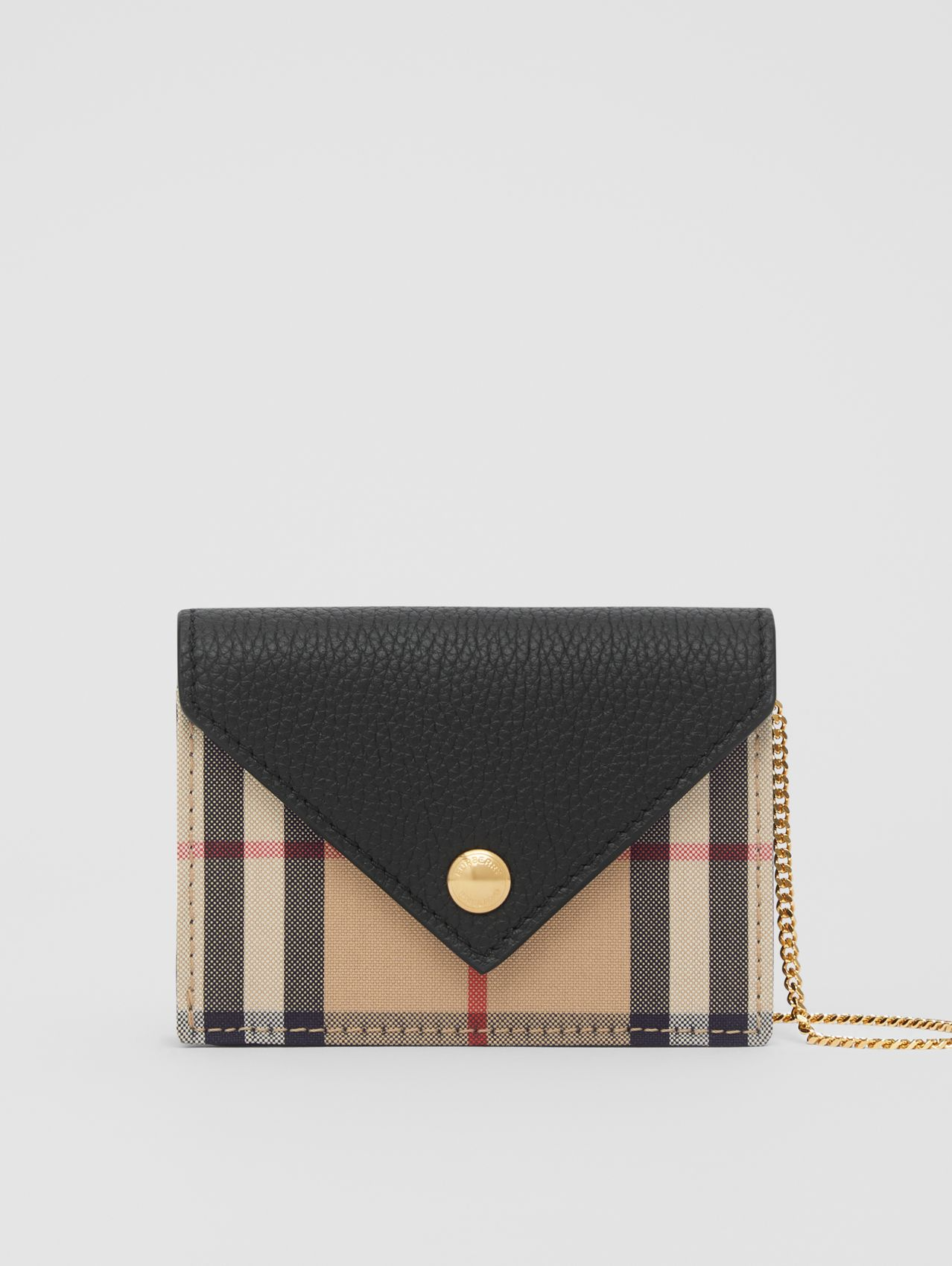 Vintage Check and Leather Card Case with Strap (Black)