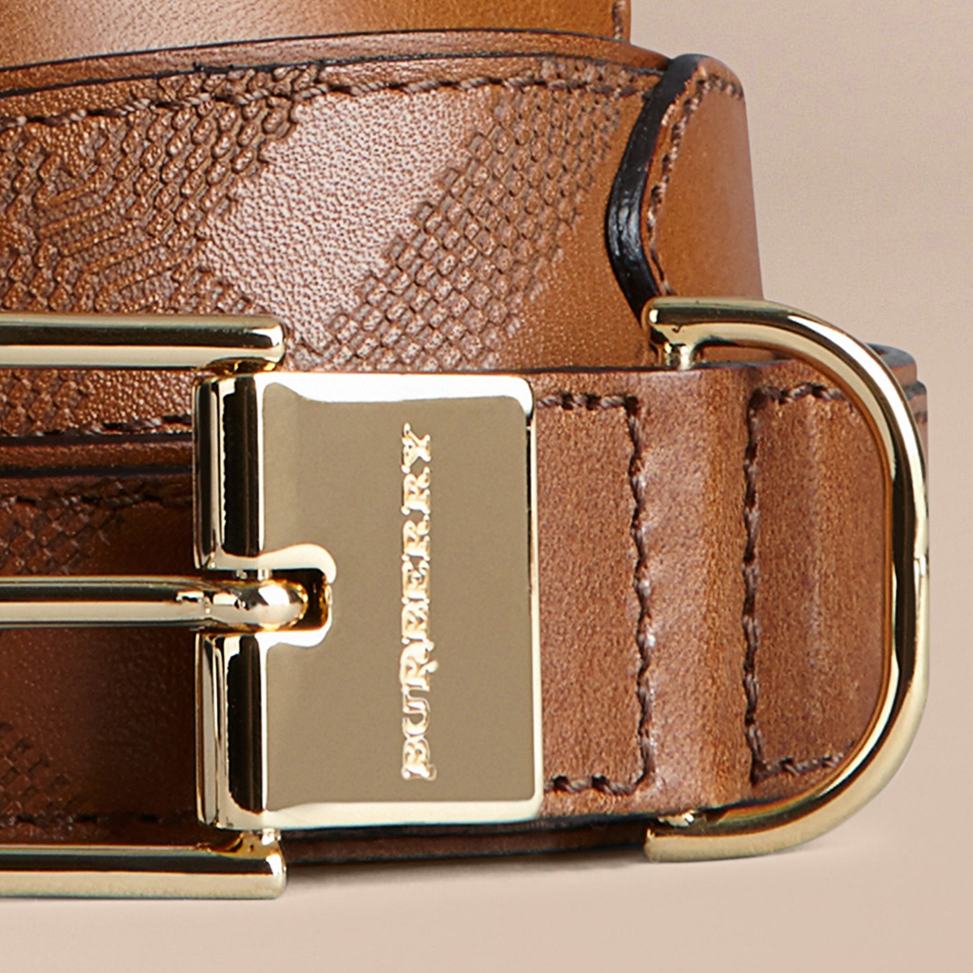 Tan Embossed Check London Leather Belt Tan - gallery image 2