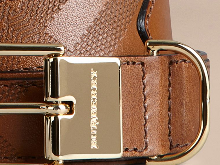 Tan Embossed Check London Leather Belt Tan - cell image 1
