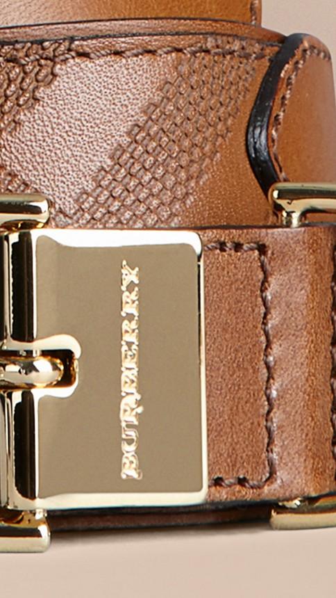 Tan Embossed Check London Leather Belt Tan - Image 2