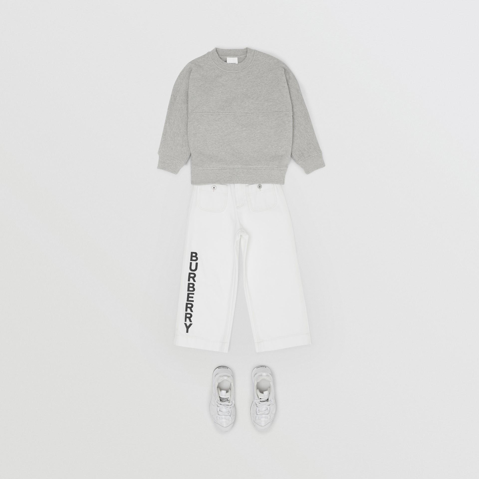 Logo Print Cotton Sweatshirt in Grey Melange/black   Burberry United States - gallery image 3