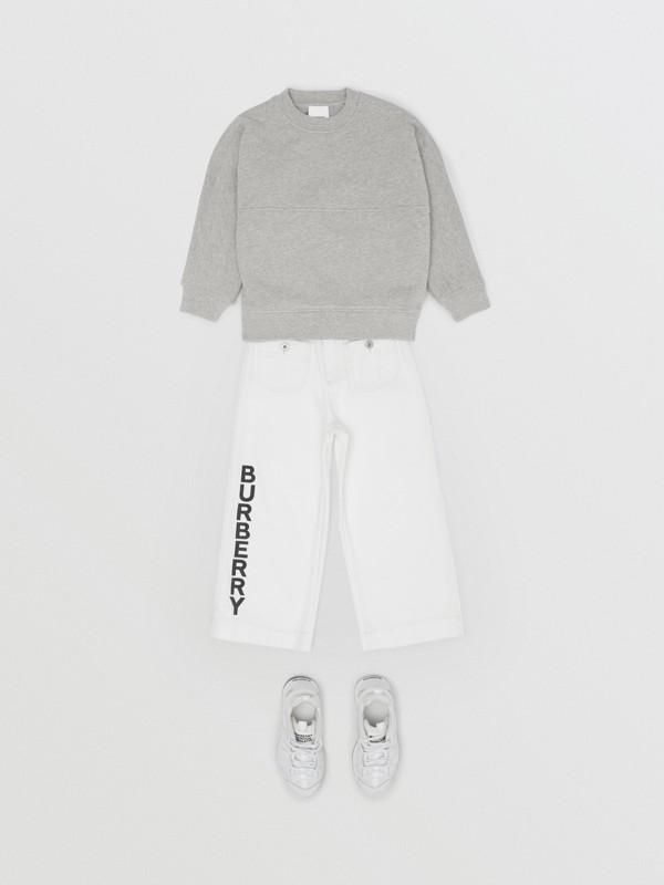 Logo Print Cotton Sweatshirt in Grey Melange/black   Burberry United States - cell image 3